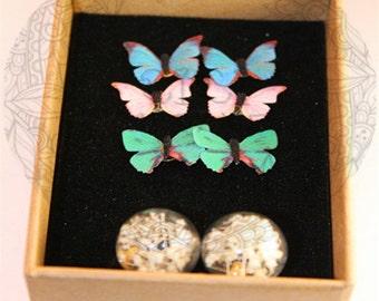 """Butterfly gypsophila earrings pendulums """"papillion gypsophila"""""""