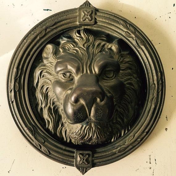 Sale vintage large heavy brass ornate lion head door - Brass lion head door knocker ...