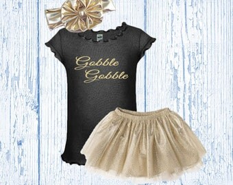 Girl's Thanksgiving Outfit Black and Gold - Girls Thanksgiving Outfit Glitter - Thanksgiving Tutu Outfit