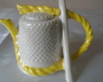 Thimble, needle and thread novelty lustre teapot