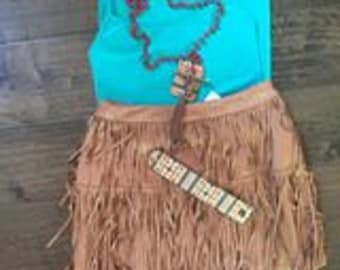 Tan Suede Fringe Skirt