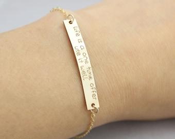 Dainty Personalized gold filled Large Bracelet, Message Bar Bracelet, Initial Bracelet, Nameplate Bracelet, Holiday gift, Bridesmaid Gift