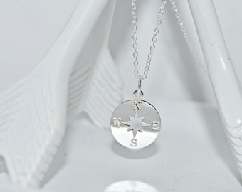 Sterling Silver Compass Necklace- sterling silver necklace- sterling silver disc with north star center
