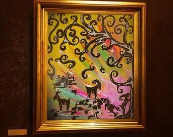 Nursery wall art, Capricorn painting wall art, goat wall art,  Nursery goat wall art, rainbow, Capricorn nursery, zen nursery