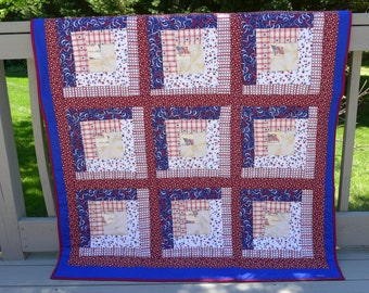 Sale ! Patriotic Red, White and Blue  Quilt