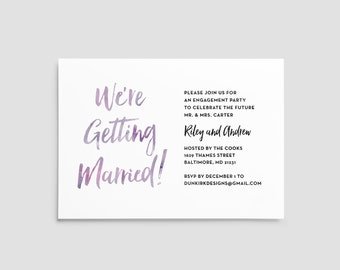 engagement party invites // engagement party invitations // watercolor // hand lettering // simple // modern // printable // custom