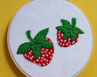 Strawberry Wall Hanging. Cute Fruit Wall Decor in Embroidery Hoop