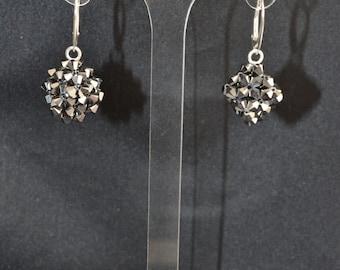 925 silver earrings crystal Swarovski crystal cube shaped light chrome 2x