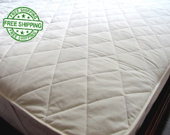 Organic Hemp Mattress Pad Cover filled with Hemp Fiber/KING size/Topper cover/Hypoallergenic Chemical Free/FREE SHIPPING