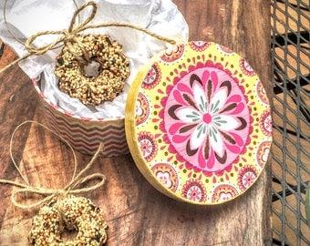 Bird Seed Wreath (Gift Box Set) of 3, bird seed ornament, bird lover, bird feeder, rustic gift, outdoor gift, coworker gift