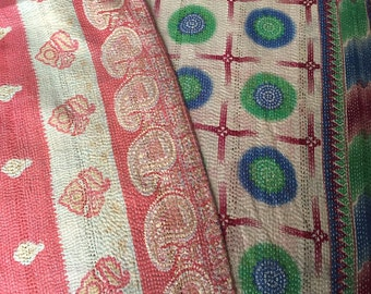 Vintage Indian Kantha Throw in blues and greens with earthy tones on reverse