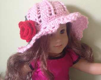 American girl doll hat, 18 inch doll hat, American girl crochet hat, fancy doll hat, panama hat, pink rose hat