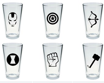 The Avengers Inspired Pint Glass Set of 6