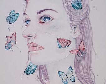 Let Your Dancing Please My Eye | A Study in Watercolor | Original Watercolor Portrait | 11 x 15 in