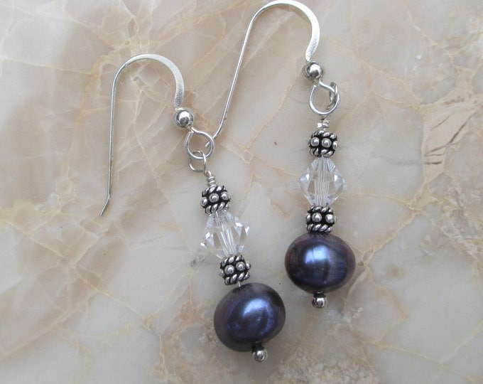 handmade black freshwater pearl and Swarovski crystal earring on sterling silver ear wire