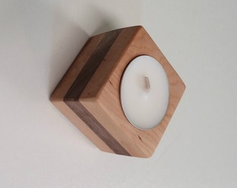 Wood tea light candle holder made of Cherry and Walnut