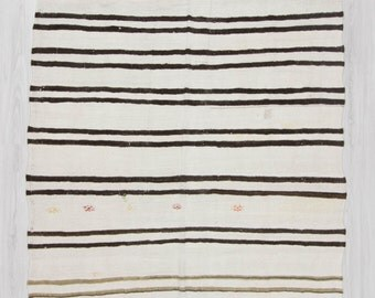 "6'x12'4"" (183x375cm) Vintage handwoven modern black,grey and brown striped Turkish hemp kilim rug,FREE SHİPPİNG"