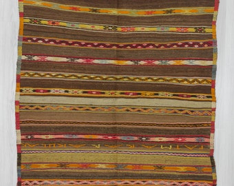 """4'6""""x6'2"""" (137x188cm) Vintage handwoven striped embroidered Turkish kilim rug,FREE SHIPPING"""