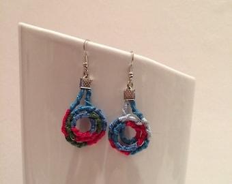 Woven earrings multicolor asymmetric