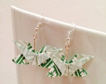 Origami butterflies green/white earrings