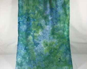 Scarf Shawl Wrap Ice Dyed Blue, Turqoise, Yellow & Green