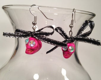 Pink Skully Earrings