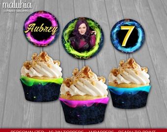 Descendants Cupcake Toppers - Disney Descendants 16 Custom Cupcake Toppers Birthday Party - Descendants Party Decoration - Mal Evie