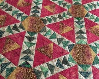 Crossroads Quilt, Hand Made Patchwork Quilt, Hand Made Bed Quilt, Bed Sized Patchwork Quilt
