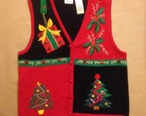 FANTASTIC Christmas Holiday Tacky Ugly Gaudy Beaded Sequin Button-up Sweater Vest