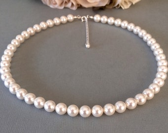SALE 8mm swarovski pearl necklace, sterling silver bridal necklace, bridesmaid necklace, chunky pearl strand necklace, wedding jewelry