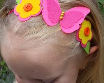 Baby Headband-Flower Headband-Butterfly Headband-Pink Headband-Felt Headband-Handmade Headband-Girls Headband- Newborn Headband-Infant-Kids