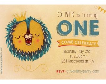 Lion invitation. 1st Birthday Invitation for boy. Printable. First Birthday Invitation. Animal party.