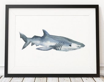 Cute shark watercolor print Nautical decor Nursery art ACW172