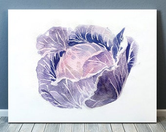 Red cabbage print Vegetable art Kitchen poster Watercolor print ACW229