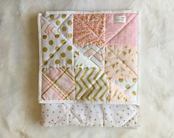 Baby quilt modern blanket, pink, gold, baby girl blanket, girl nursary, quilt blanket