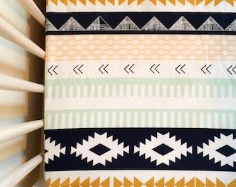 Arizona + Aztec Crib Sheet, tribal theme, aztec nursery, navy, mint, yellow-gold, blush, woodland baby bedding, baby bedding, modern