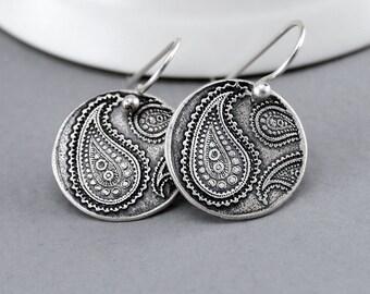 Paisley Earrings, Silver Dangle Earrings, Sterling Silver Paisley Jewelry, Boho Jewelry, Hippie Jewelry, Rustic Jewelry, Boho Earrings