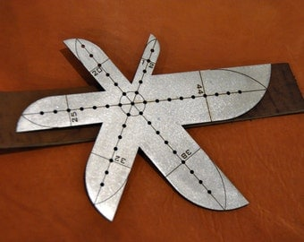 Leather Belt Strap English Point End Punch Leathercraft Tracing Stencil & Ruler