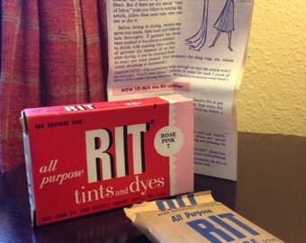 Vintage RIT Tints and Dyes - (1) Rose Pink #7 and (2) Gold Packages