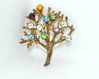 Vintage DCE Sterling Tree Brooch with Rhinestones