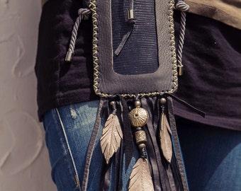 NEW MOON Ibiza boho black leather bag, Gift for her, IPhone 6 case, leather IPhone leather bag IPhone mobile bag, iphone sleeve