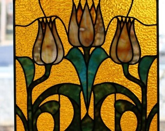 Colorful Stained Glass Floral Panel