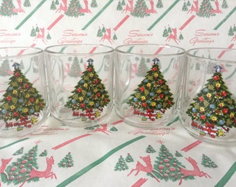 C.1984~Christmas By Carlton~Set of 4~10 ounce~Crystal Mugs