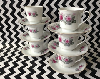 Vintage~Grey Garden~Set of 6~Pink Roses~Tea Cup and Saucer