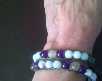 Double wraparound gemstone bracelet