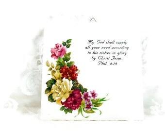 Vintage Roses Trivet, Ceramic Tile Trivet, Shabby Chic Trivet,God Shall Supply All Your Need, Bible Quote Trivet,Cottage Chic, Hanging Tile
