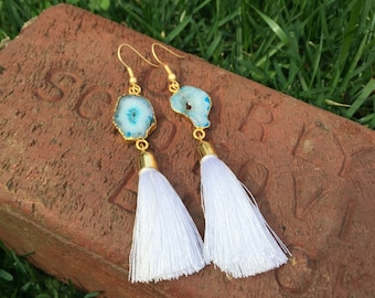 Teal Druzy Agate Earrings with White Tassels