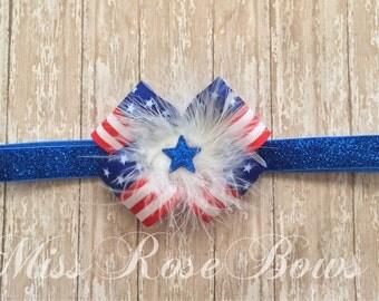 July 4th Headband Bow-4th of July Headband Bow-American Flag Bow Headband-Red White and Blue Headband Bow-Fourth of July Headband Bow