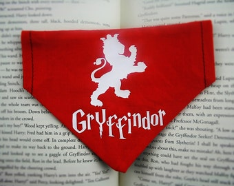 Gryffindor reversible dog bandana|Hogwarts House Crest Series|Harry Potter custom geeky gifts for dogs