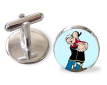 Popeye the sailorman Olive oil Stainless Steel Handmade Cufflinks
